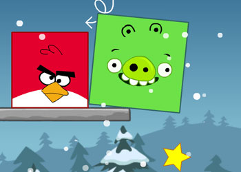 Play Angry Birds Throw green pigs online - Screenshot 2