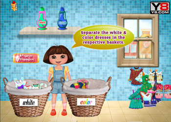 Play Dora Washing Clothes online - Screenshot 1