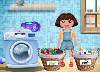 Play Dora Washing Clothes online - Screenshot 2