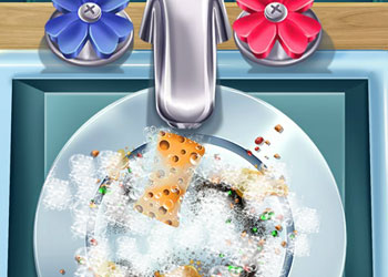Play Elsa Dish Washing Realife online - Screenshot 2