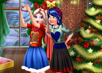 Play Ladybug and Elsa Xmas Selfie online - Screenshot 2