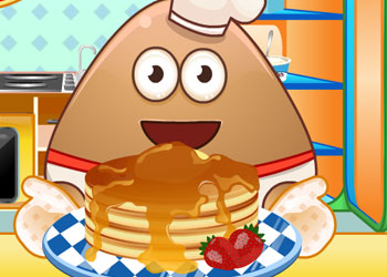 Play Pou Cooking Pancakes online - Screenshot 1