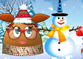 Play Pou Girl Building A Snowman online - Screenshot 1