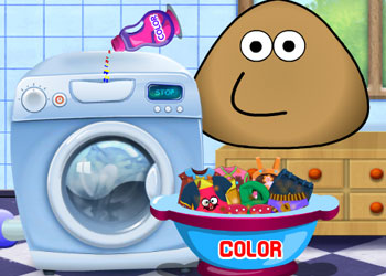 Play Pou Washing Clothes online - Screenshot 1