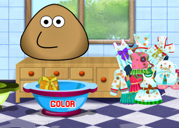 Play Pou Washing Clothes online - Screenshot 2