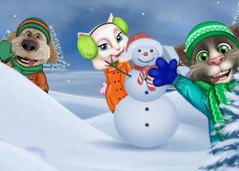 Play Talking Tom Playing Snowballs online - Screenshot 2