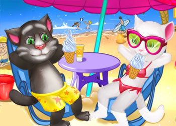 Play Tom And Angela Cat Beach Holiday online - Screenshot 1